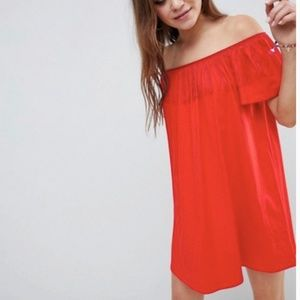 New! ASOS Off the shoulder Red Dress w/ Fringe